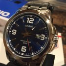 Casio Men's Silver-Toned LARGE  Face Watch w/ Blue Dial MTP1314D-2A