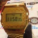 A159wge Casio Digital classic checkers gold tone adjustable band