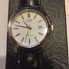 Casio Mens MTP1183E-7A Genuine Leather Blck & White face w/ date Men Size New