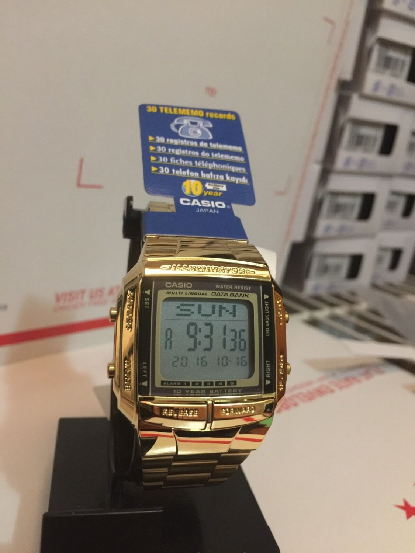 Casio DB 360G 9ADF Data Bank Gold Tone 10 year battery Unisex  Brand New