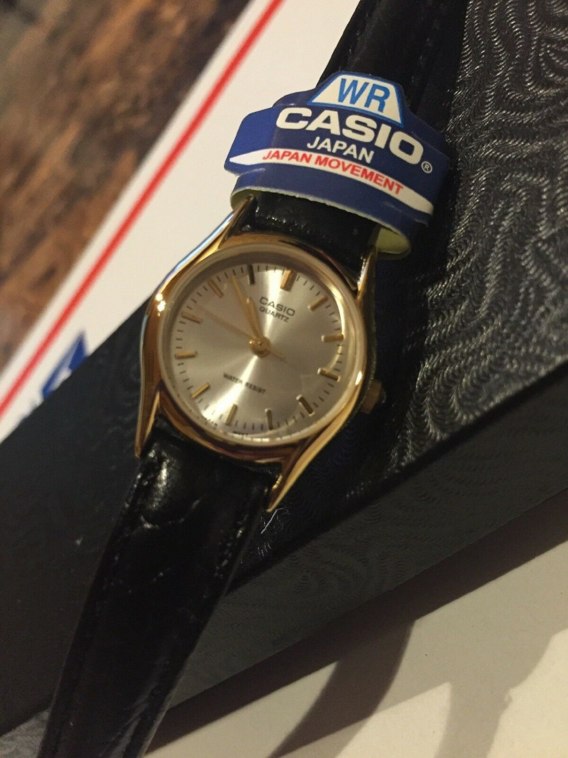 Casio Women's Black Leather Strap Watch, Pale Gold Dial, LTP1094Q-7A extra small