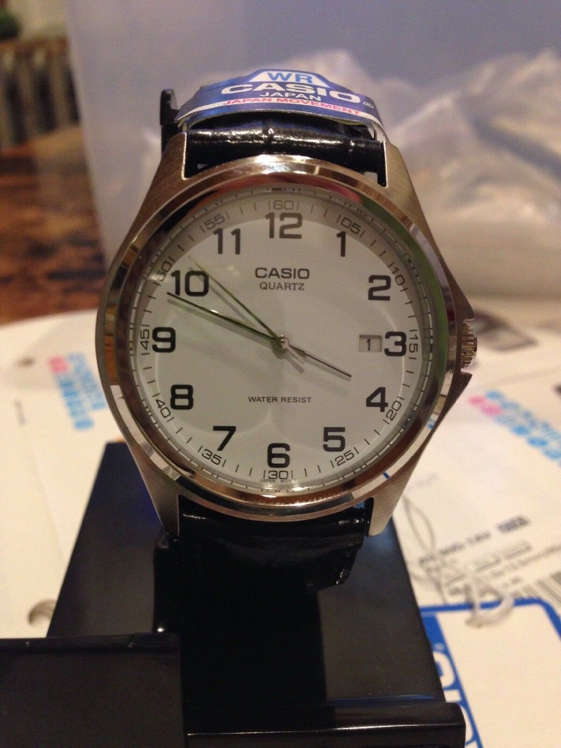 Casio MTP-1183E Wrist Watch For Men with date Black band silver tone brand new