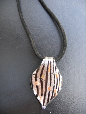 Murano Glass Pendant on Satin Necklace