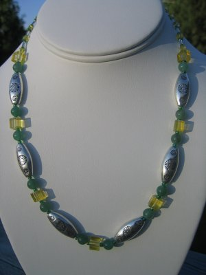 Silver Sunflowers with Jade round beads and Yellow cubes