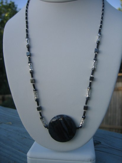 Gray and Black Gemstone with Silver and Hematite accents