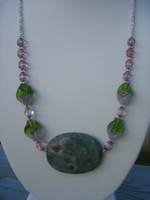 Green and Purple Jasper with flower twists and sparkles