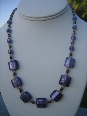 Purple Foil Beads with Czech Glass