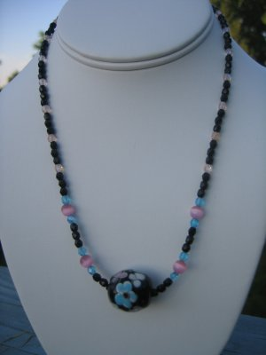 Auqua and Pink Lampwork Flower and Cat's Eye