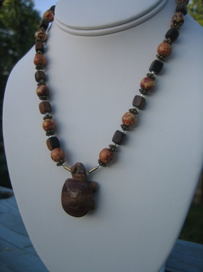 Jasper Turtle and Wood with gold flower accents