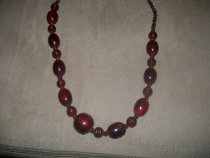 Dark Red Wood Bead Necklace