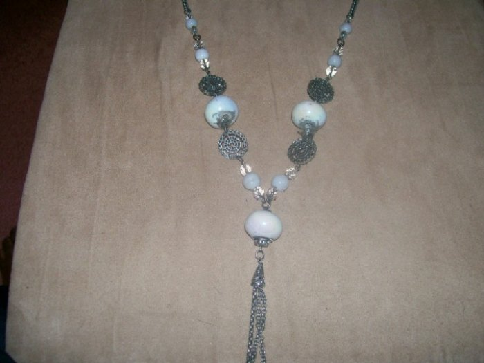 White and silver bead necklace