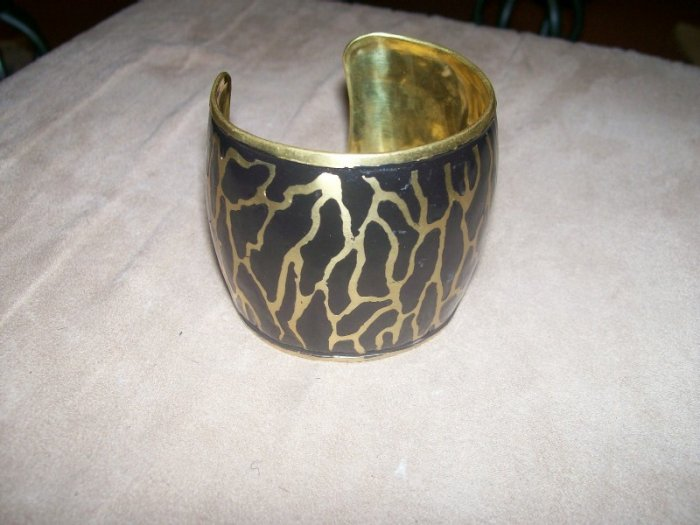 Blac k and Gold cuff bracelet