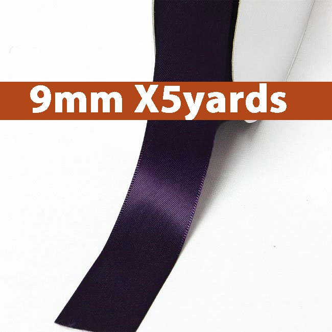 # 290 shadow purple Color 9mm Wide 5 Yards 5 Double Faced Satin Ribbon (#28800 X5 Yards)
