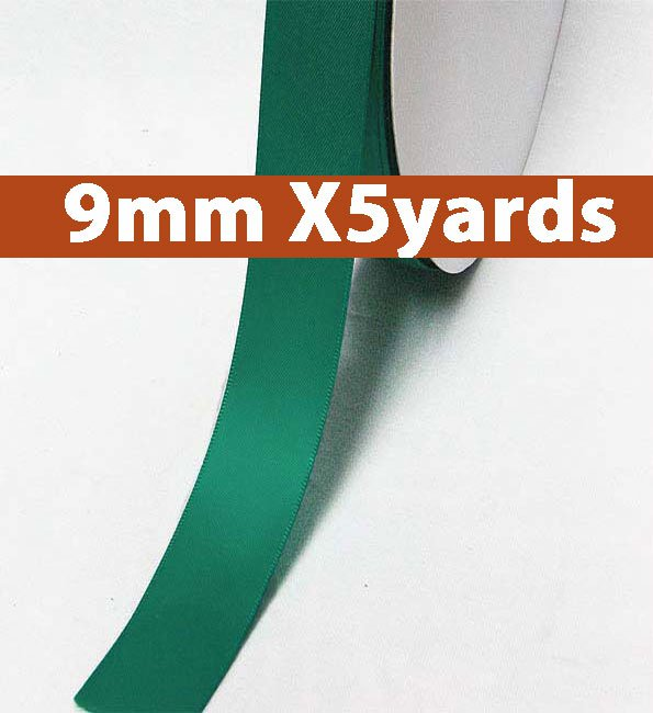 # 346 jade Color 9mm Wide 5 Yards 5 Double Faced Satin Ribbon (#28800 X5 Yards)