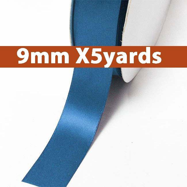 # 366 batik blue Color 9mm Wide 5 Yards 5 Double Faced Satin Ribbon (#28800 X5 Yards)