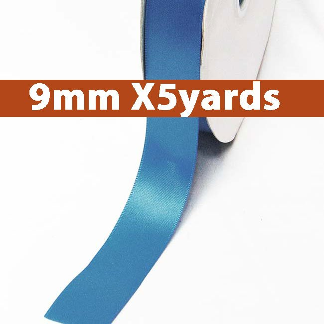 # 373 dress blue Color 9mm Wide 5 Yards 5 Double Faced Satin Ribbon (#28800 X5 Yards)