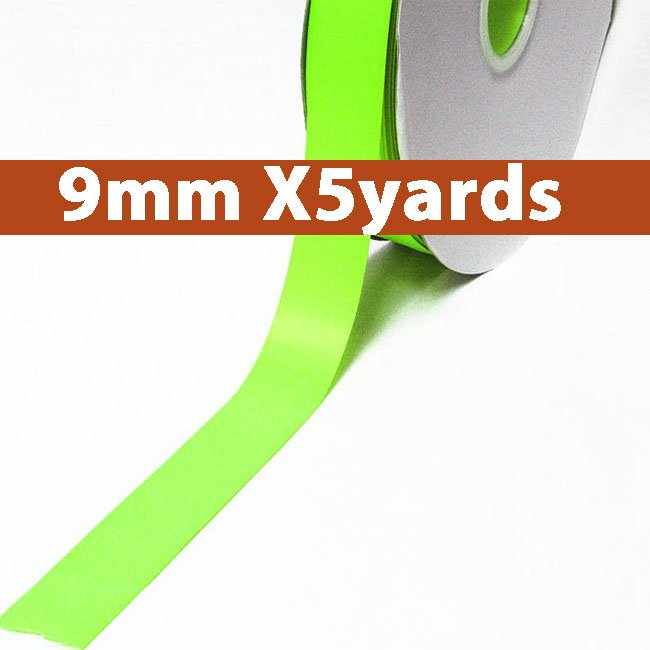 # 544 key lime Color 9mm Wide 5 Yards 5 Double Faced Satin Ribbon (#28800 X5 Yards)