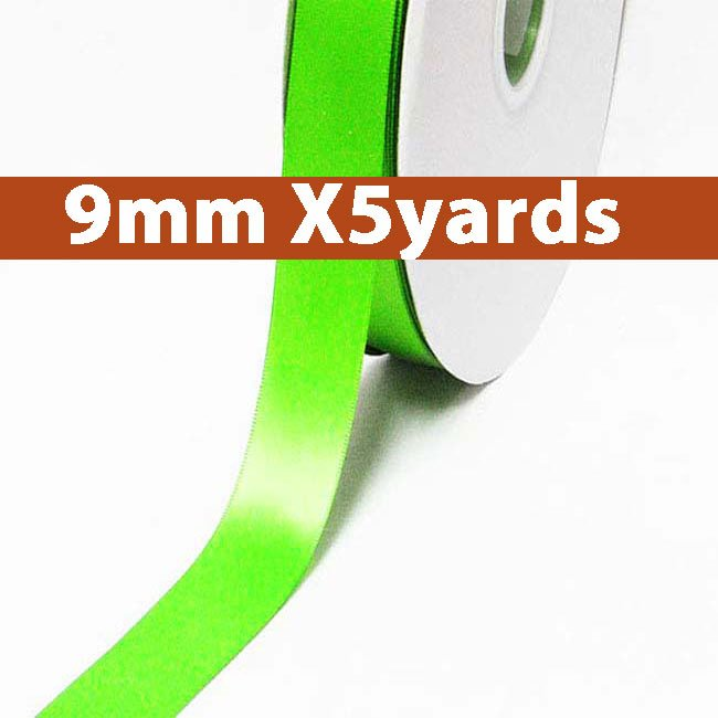 # 556 acid green Color 9mm Wide 5 Yards 5 Double Faced Satin Ribbon (#28800 X5 Yards)