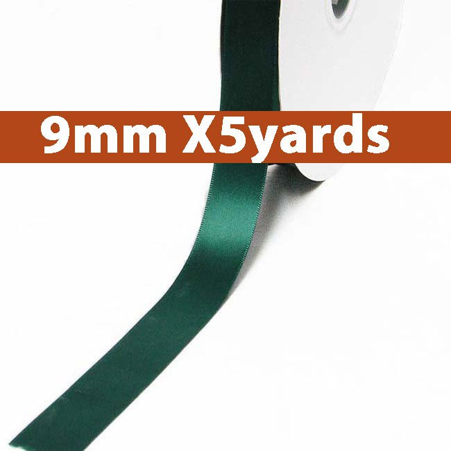 # 593 spruce Color 9mm Wide 5 Yards 5 Double Faced Satin Ribbon (#28800 X5 Yards)