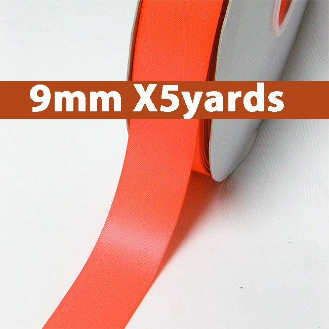 # 600 neon orange Color 9mm Wide 5 Yards 5 Double Faced Satin Ribbon (#28800 X5 Yards)