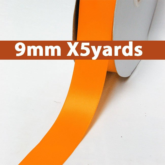 # 668 tangerine Color 9mm Wide 5 Yards 5 Double Faced Satin Ribbon (#28800 X5 Yards)