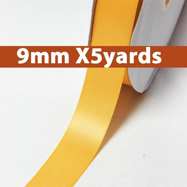 # 675 gold Color 9mm Wide 5 Yards 5 Double Faced Satin Ribbon (#28800 X5 Yards)