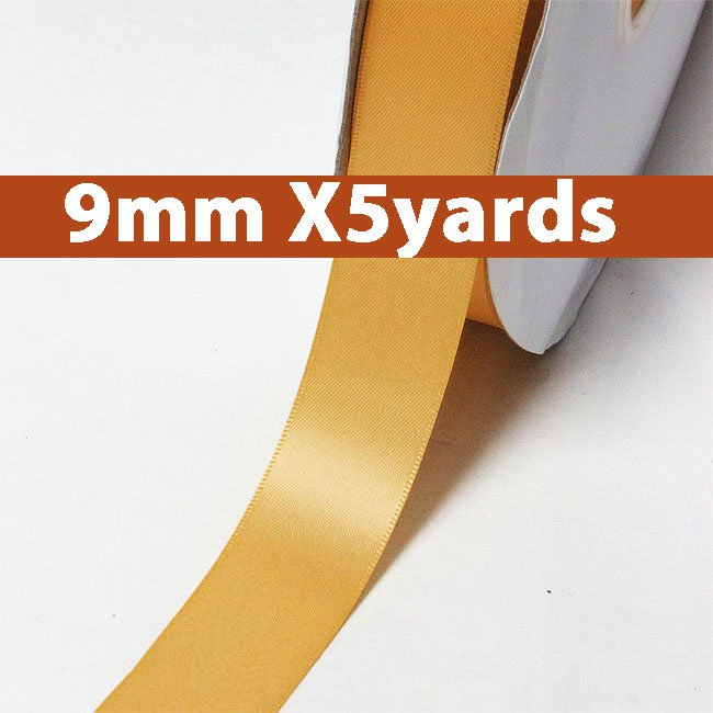 # 690 old gold Color 9mm Wide 5 Yards 5 Double Faced Satin Ribbon (#28800 X5 Yards)