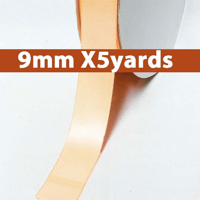 # 714 petal peach Color 9mm Wide 5 Yards 5 Double Faced Satin Ribbon (#28800 X5 Yards)