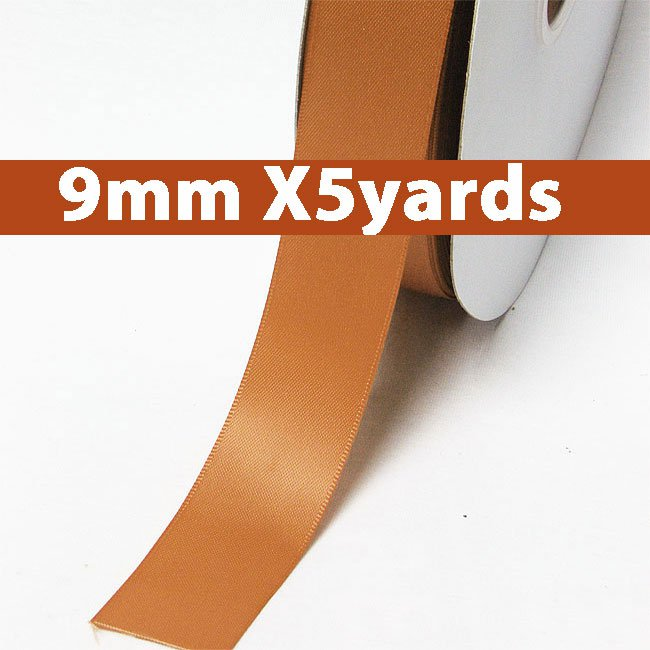 # 743 ginger Color 9mm Wide 5 Yards 5 Double Faced Satin Ribbon (#28800 X5 Yards)