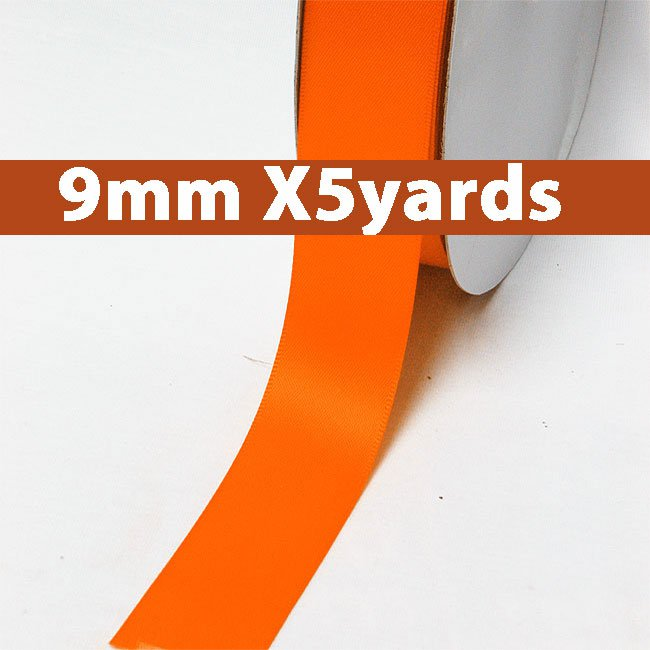 # 750 torrid orange Color 9mm Wide 5 Yards 5 Double Faced Satin Ribbon (#28800 X5 Yards)