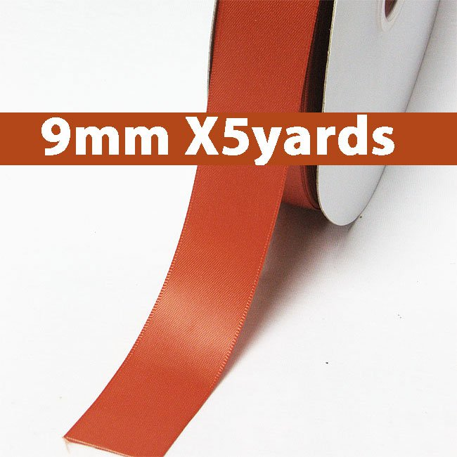# 765 mandarin orange Color 9mm Wide 5 Yards 5 Double Faced Satin Ribbon (#28800 X5 Yards)