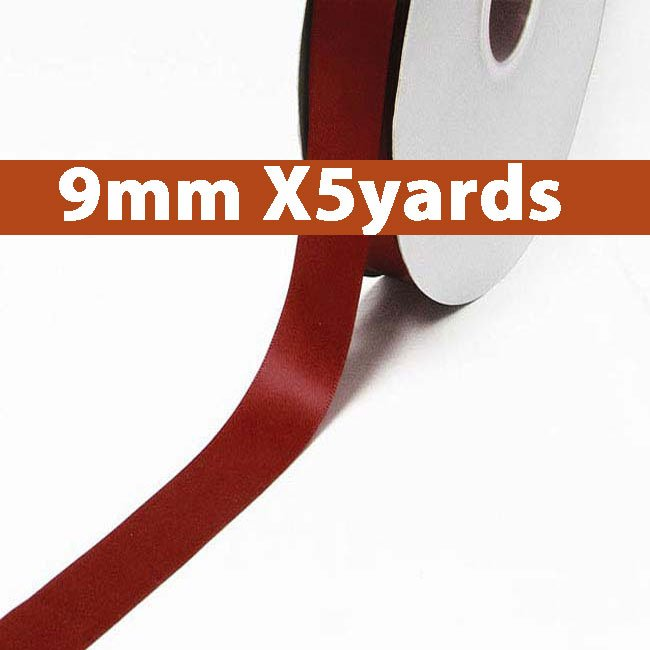 # 789 sherry Color 9mm Wide 5 Yards 5 Double Faced Satin Ribbon (#28800 X5 Yards)