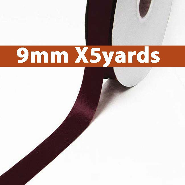 # 793 raisin Color 9mm Wide 5 Yards 5 Double Faced Satin Ribbon (#28800 X5 Yards)