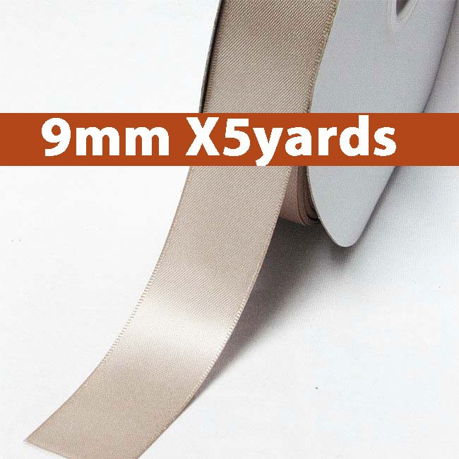 # 823 taupe Color 9mm Wide 5 Yards 5 Double Faced Satin Ribbon (#28800 X5 Yards)