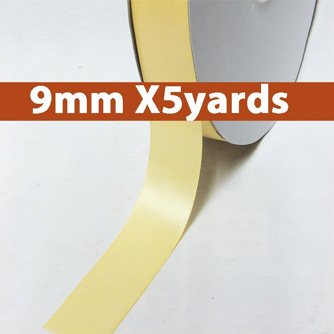 # 824 buttermilk Color 9mm Wide 5 Yards 5 Double Faced Satin Ribbon (#28800 X5 Yards)