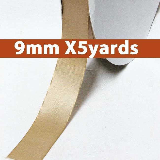 # 837 latte Color 9mm Wide 5 Yards 5 Double Faced Satin Ribbon (#28800 X5 Yards)