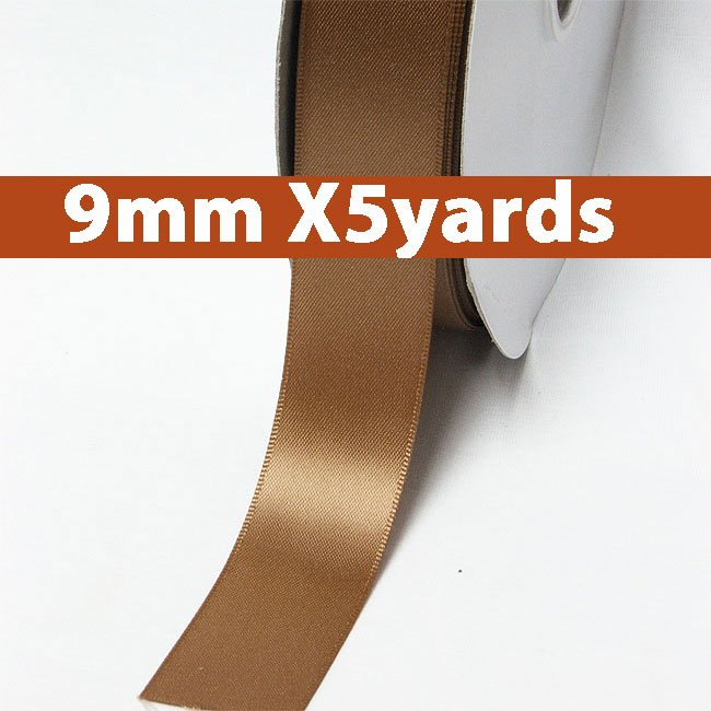 # 845  chipmunk Color 9mm Wide 5 Yards 5 Double Faced Satin Ribbon (#28800 X5 Yards)