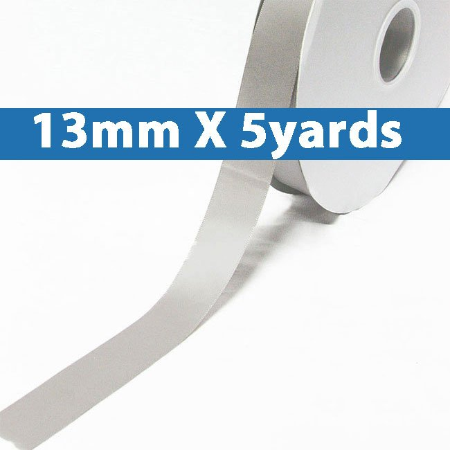 """# 007 shell grey Color 13mm/0.5"""" Wide 5 Yards Double Faced Satin Ribbon (#28800 X5 Yards)"""
