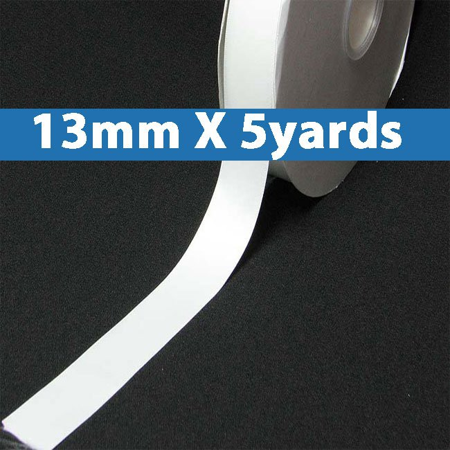 "# 029 white Color 13mm/0.5"" Wide 5 Yards Double Faced Satin Ribbon (#28800 X5 Yards)"