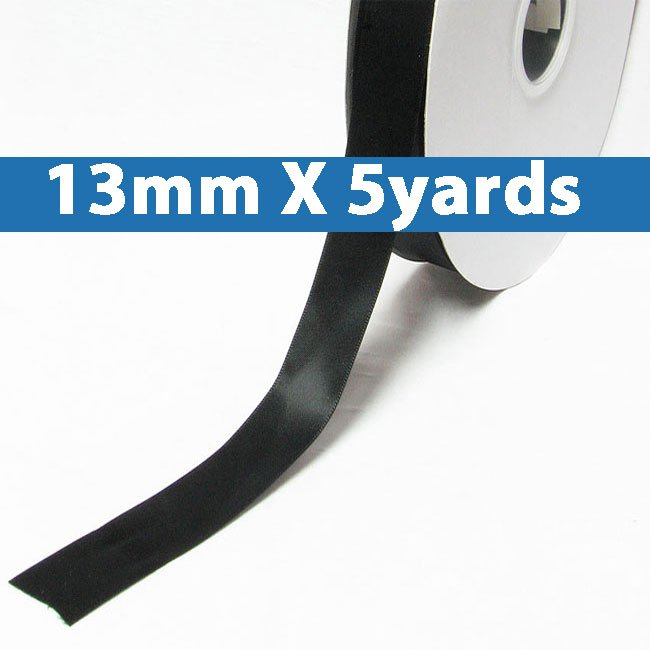 "# 030 black Color 13mm/0.5"" Wide 5 Yards Double Faced Satin Ribbon (#28800 X5 Yards)"