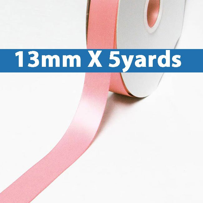 """# 150 pink Color 13mm/0.5"""" Wide 5 Yards Double Faced Satin Ribbon (#28800 X5 Yards)"""