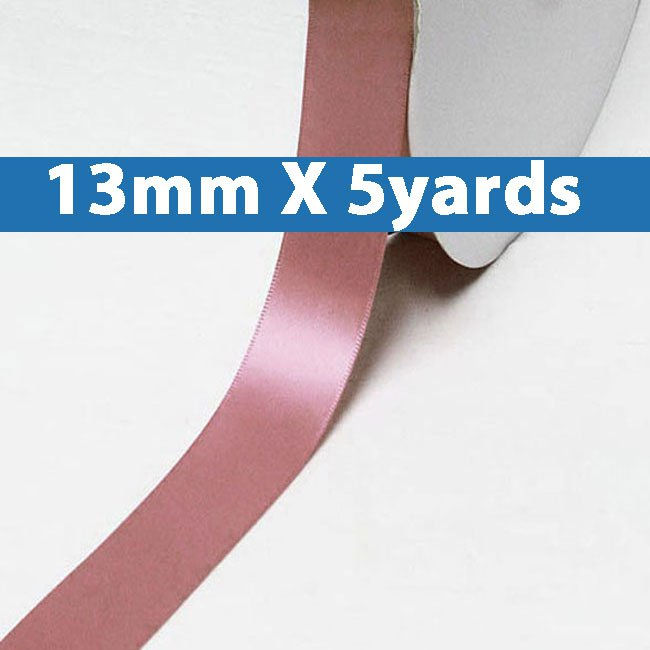 "# 165 rosy mauve Color 13mm/0.5"" Wide 5 Yards Double Faced Satin Ribbon (#28800 X5 Yards)"