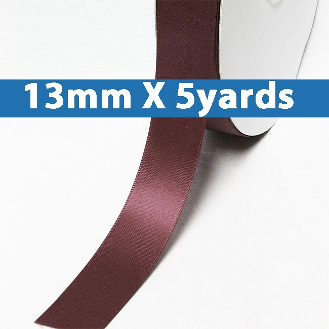 "# 177 rose wine Color 13mm/0.5"" Wide 5 Yards Double Faced Satin Ribbon (#28800 X5 Yards)"