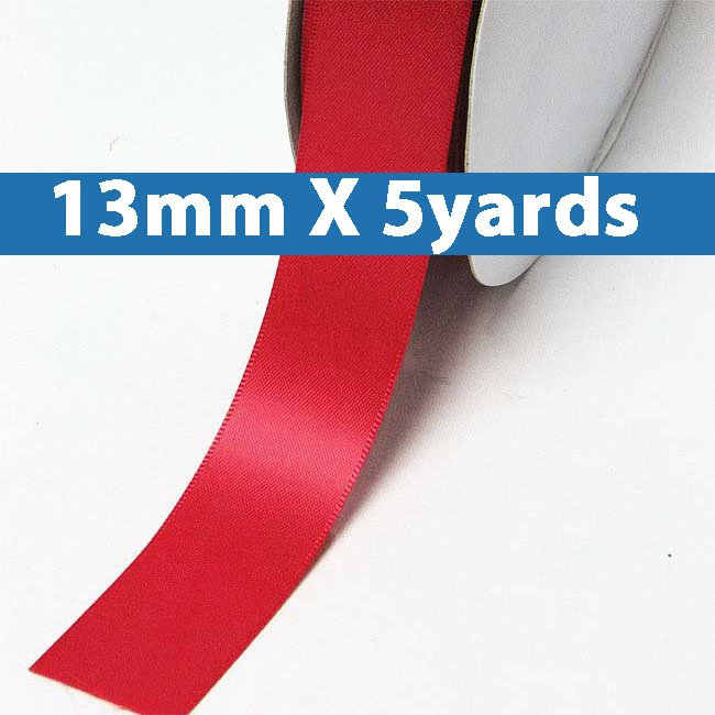 """# 235 poppy red Color 13mm/0.5"""" Wide 5 Yards Double Faced Satin Ribbon (#28800 X5 Yards)"""