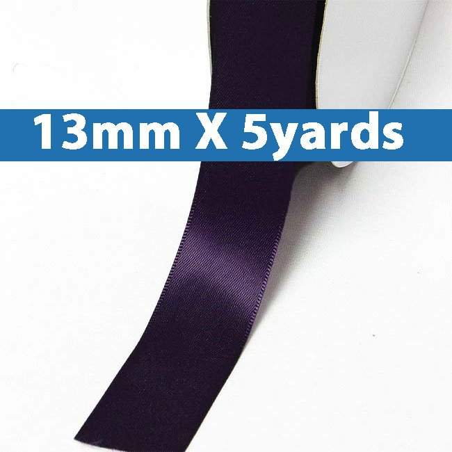 "# 290 shadow purple Color 13mm/0.5"" Wide 5 Yards Double Faced Satin Ribbon (#28800 X5 Yards)"