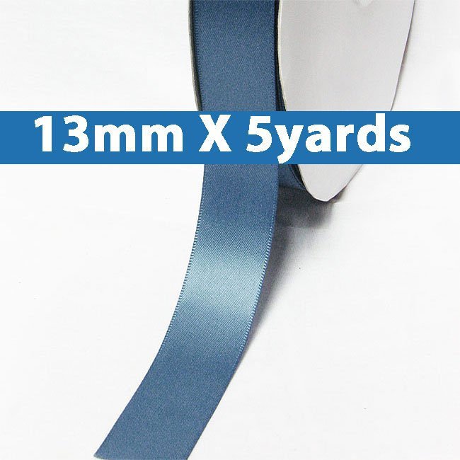 "# 338 antique blue Color 13mm/0.5"" Wide 5 Yards Double Faced Satin Ribbon (#28800 X5 Yards)"