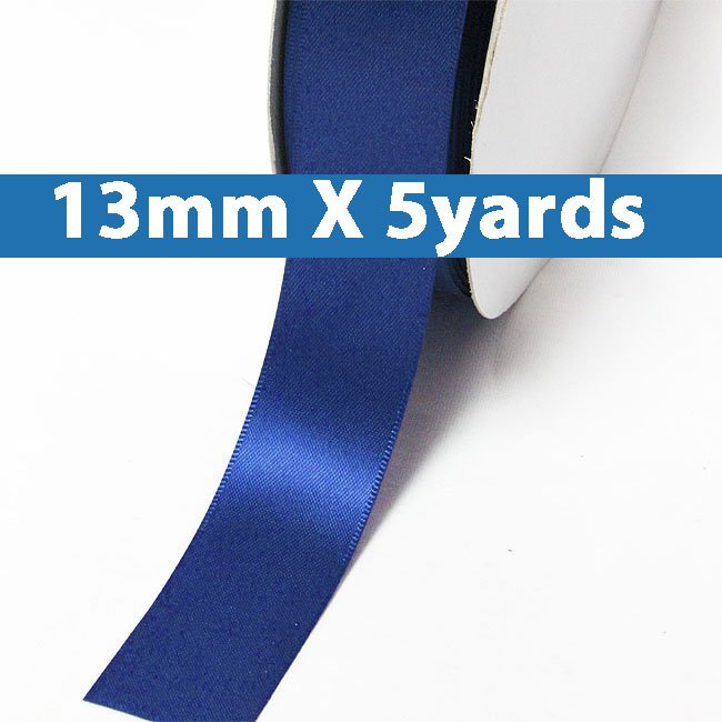 """# 352 electric blue Color 13mm/0.5"""" Wide 5 Yards Double Faced Satin Ribbon (#28800 X5 Yards)"""