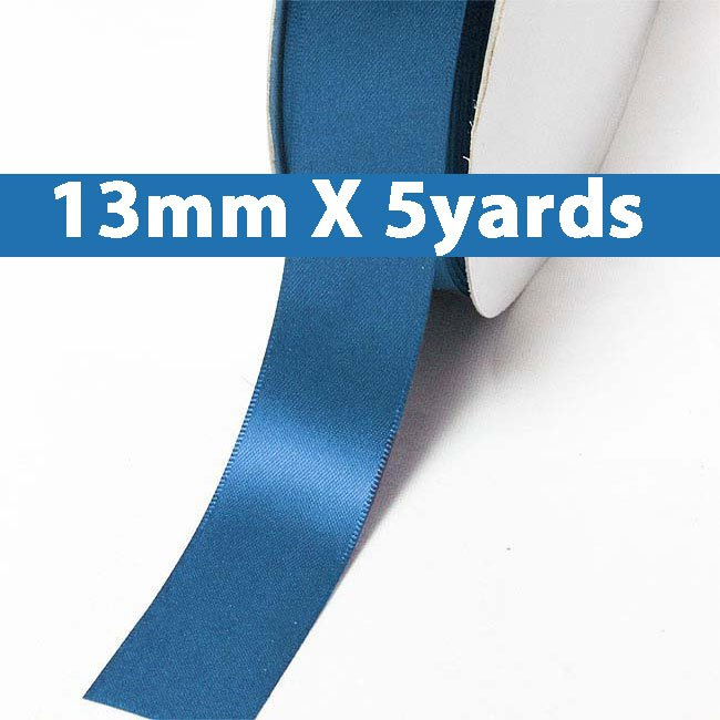 "# 366 batik blue Color 13mm/0.5"" Wide 5 Yards Double Faced Satin Ribbon (#28800 X5 Yards)"