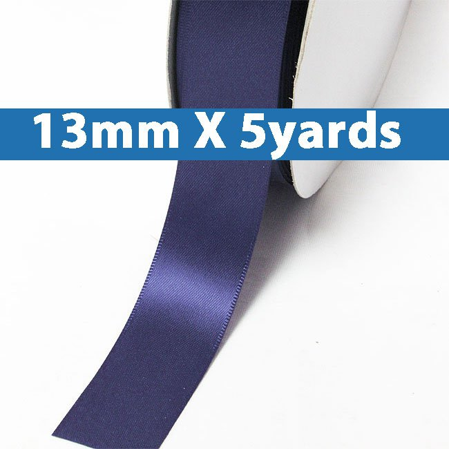 "# 371 ink blue Color 13mm/0.5"" Wide 5 Yards Double Faced Satin Ribbon (#28800 X5 Yards)"