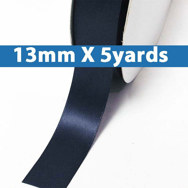 """# 372 ensign blue Color 13mm/0.5"""" Wide 5 Yards Double Faced Satin Ribbon (#28800 X5 Yards)"""